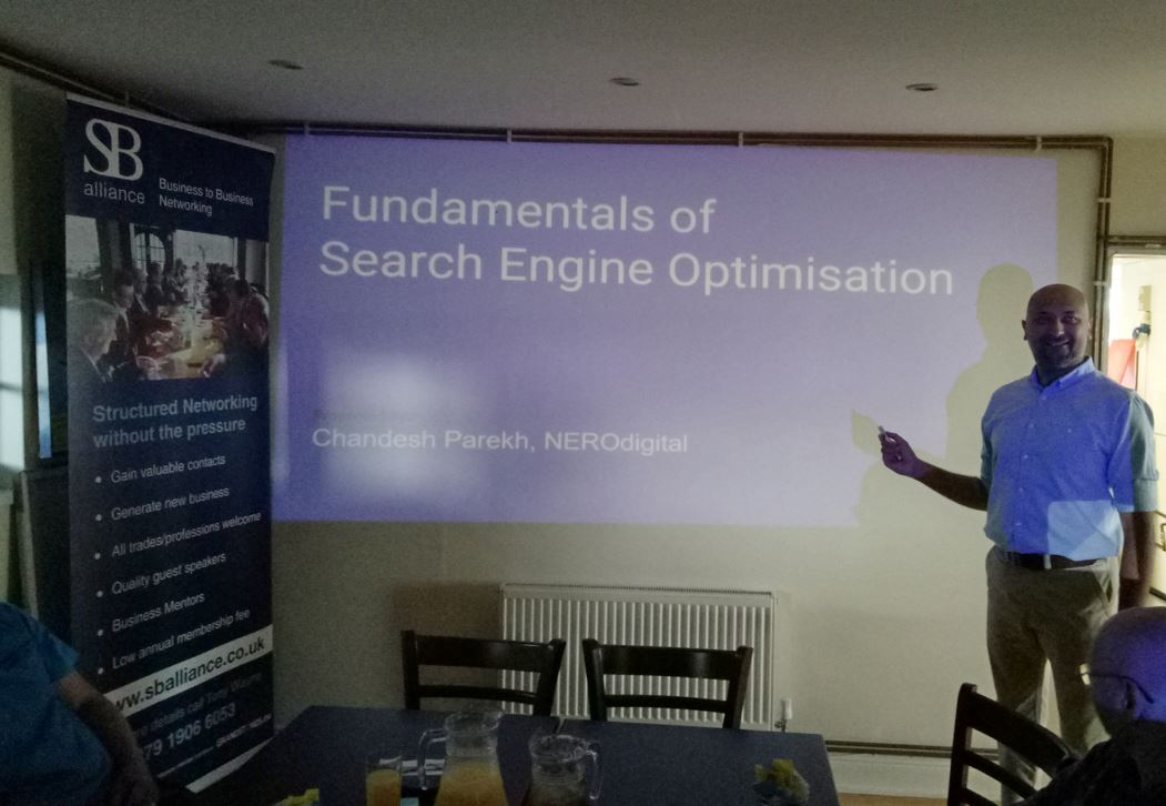 fundamentals_of_SEO_by_guest_speaker_Chandish Perekh_from_Nero_Digital_at_SB alliance_business_networking_breakfast_group_held_at_ their_Elstree_Aerodrome_venue