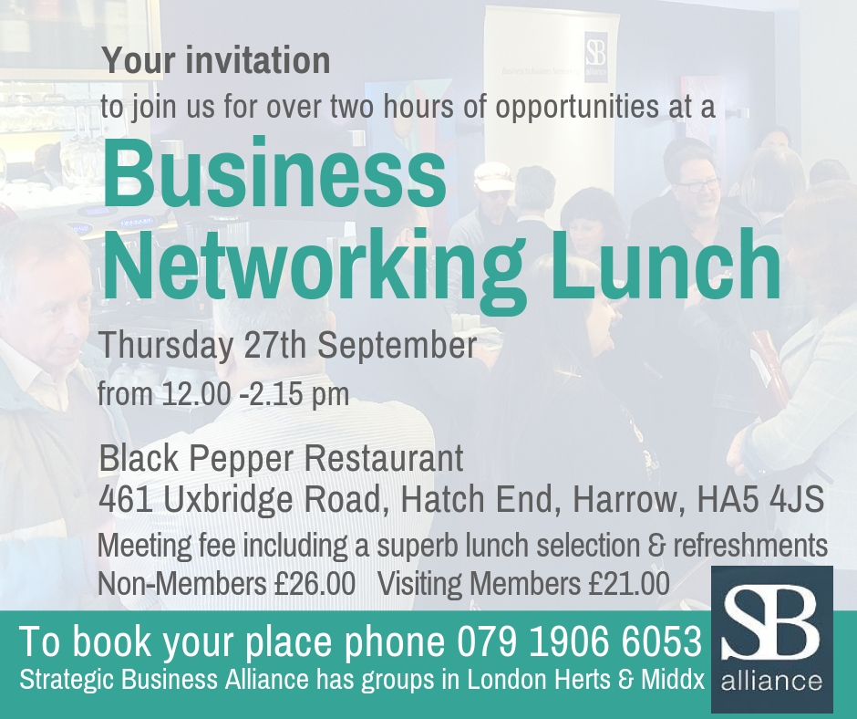 SB alliance_business_networking_lunch_Thursday_27_september_2018_at_black_pepper_restaurant_HatchEnd_Harrow