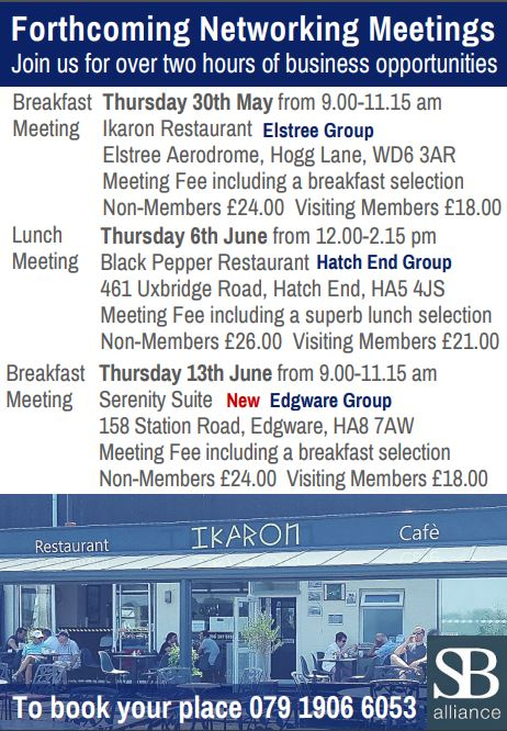 SB_alliance_forthcoming_business_networking_breakfast_and_lunch_meetings_for_businesses_NWLondon_Hertfordshire_Middlesex_areas_till_13_june_2019